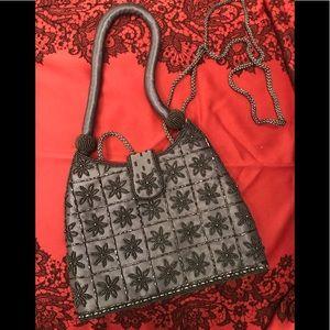 Grey satin embellished evening bag.
